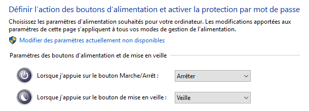 paramètres du bouton Power de Windows